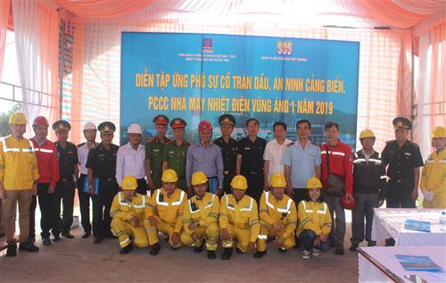 Công ty Điện lực Dầu khí Hà Tĩnh: Tổ chức diễn tập An ninh cảng biển, ứng phó sự cố tràn dầu, sự cố hóa chất, PCCC năm  2019